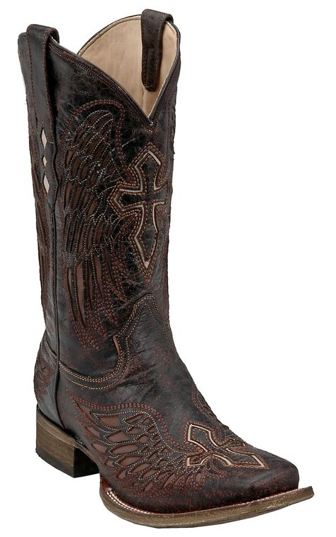 e1cd831c05 Corral® Mens Distressed Chocolate w Cognac Inlay Winged Cross Square Toe  Western Boot