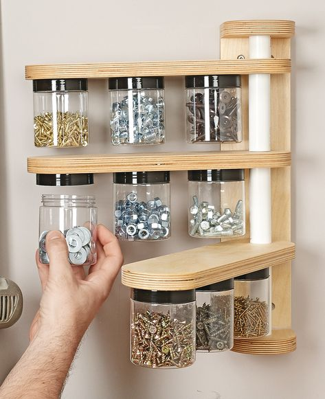 Wall-Mounted Swivel Storage Rack : A Tidy Place Close at Hand for all those small pieces of Hardware.