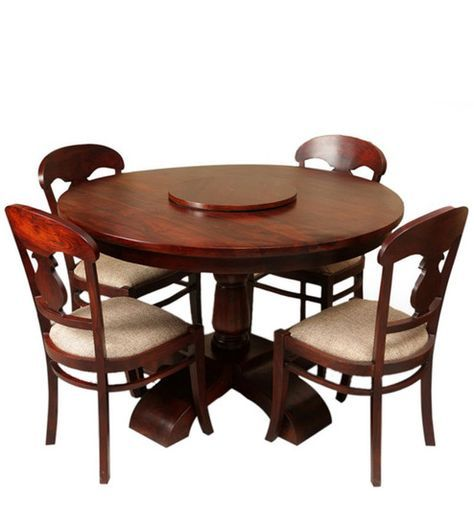 Minto Four Seater Dining Set With Revolving Table Top In Honey Oak