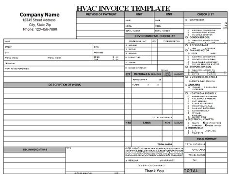 HVAC Invoice Is A Document That Is Mainly Used By Air Conditioning   Hvac  Invoice Sample