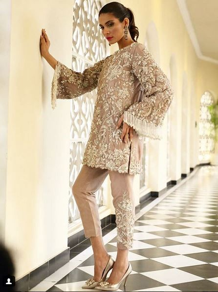 Taupe Beaded Wedding Formal Inspired by Rema & Shehrbano, Pakistani Wedding