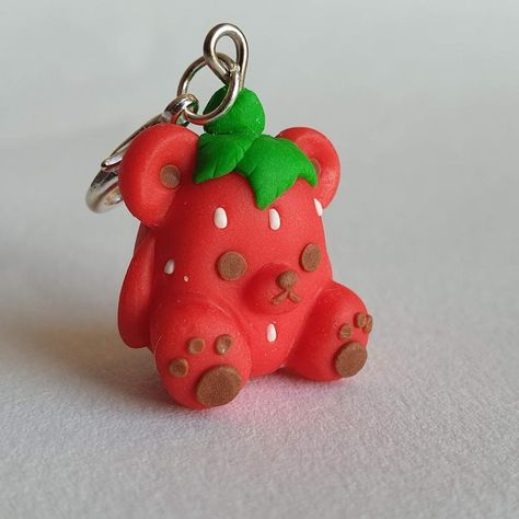 Strawberry Bear Charm, Fruit Polymer Clay Charm, Red Teddy Bear Charm