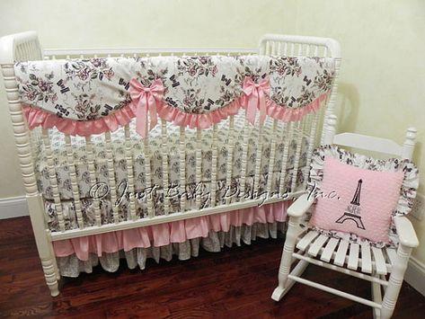 Baby Girl Crib Bedding Set Paris By BabyBeddingbyJBD