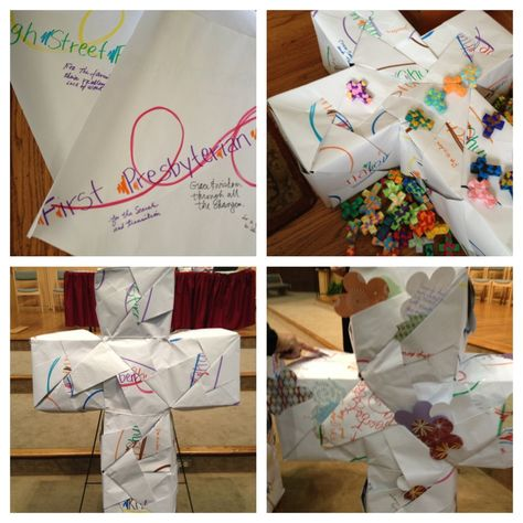 Write a prayer and tuck into a large origami cross that was made of papers representing each church in presbytery with prayers written at previous gathering.