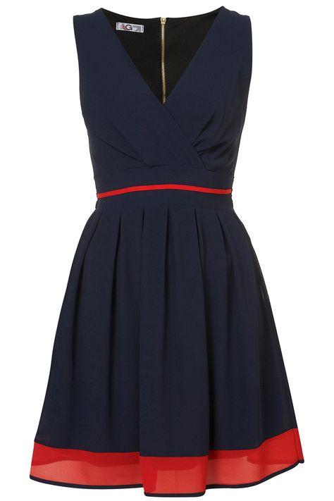 navy/red dress