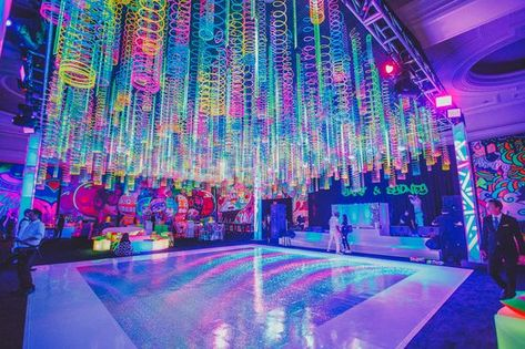 Image from Glow Party B'nai Mitzvah in Palm Beach, FL, posted by LuvRox Photography Bat Mitzvah Themes, Bar Mitzvah Party, Neon Birthday, 16th Birthday, Baseball Birthday, Baseball Party, Glow Stick Party, 90s Theme, Blacklight Party