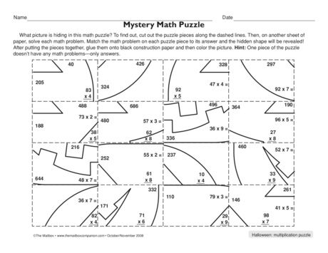 Mystery Math Puzzle Lesson Plans The Mailbox Halloween Math Worksheets Maths Puzzles Multiplication Puzzles Find hidden picture math worksheets