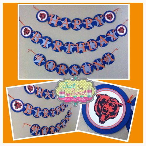 Dallas Cowboys And Chicago Bears Themed Birthday Banner Follow Us