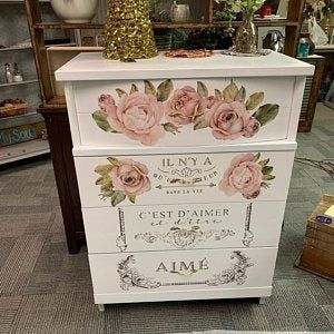 Furniture Decals Chatellerault Roses By Redesign Etsy Flower Furniture Rub On Transfers Mirror Decal