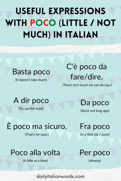 The word 'poco' means 'a little' or 'not much' in Italian and it is used in many different expressions including the ones you see here. #italian #italianlanguage #italiano #italianlessons