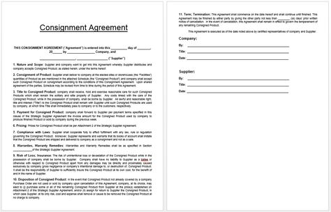 Consignment Agreement Template Templates Pinterest Template - consignment inventory agreement template