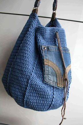 Crochet pattern crochet bag pattern upcycled denim