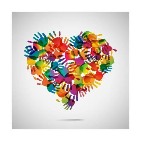 Art Print Colored Heart From Hand Print Icons By Strejman 12x12in Handprint Crafts Handprint Art Kids Art Projects