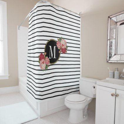 Boho Chic Black White Striped Floral Monogram Shower Curtain Zazzle Com Black White Style Floral Shower Curtains Black Curtains