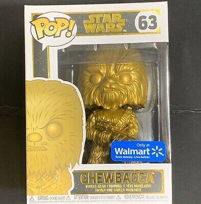 STAR WARS CHEWBACCA GOLD METALLIC WALMART EXCLUSIVE Disney NEW 63 FUNKO POP