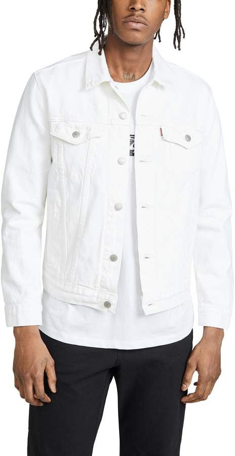 Levi S Red Tab White Denim Jacket Eastdane New To Sale Save Up To 70 White Denim Jacket Denim Outfit Men Denim Jacket Men