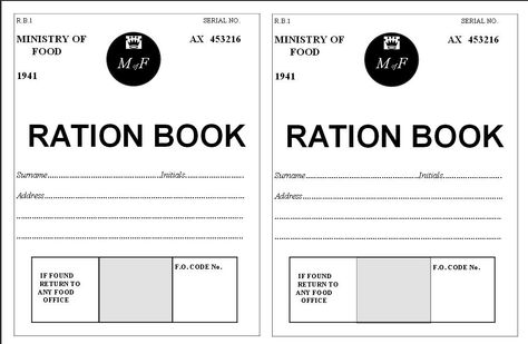 A World War 2 ration book template containing 12 pages and a front ...