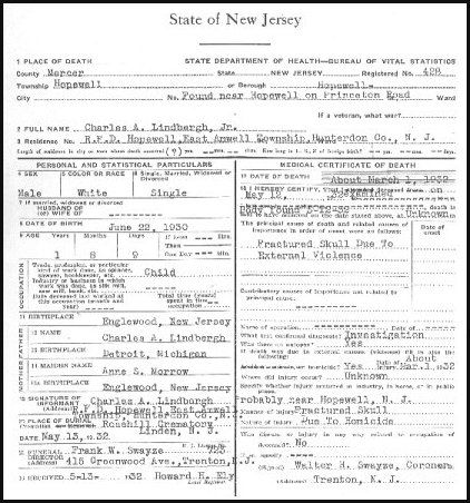 Lindbergh Death certificate   Lindbergh Baby Kidnapping   Pinterest ...