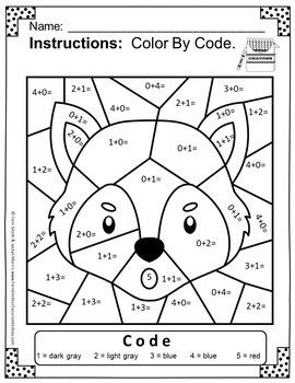 Color By Number Addition For Math Remediation Sums To 5 The Three Little Pigs Fun Math Worksheets Math Coloring Worksheets Math Coloring