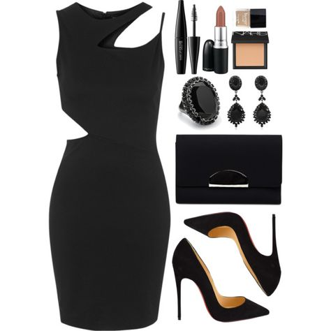 A fashion look from April 2016 featuring topshop dresses, christian louboutin pumps and embossed handbags. Browse and shop related looks. Dressy Outfits, Night Outfits, Chic Outfits, Fashion Outfits, Womens Fashion, Backstage Make Up, Christian Louboutin, Elegantes Outfit, Looks Chic