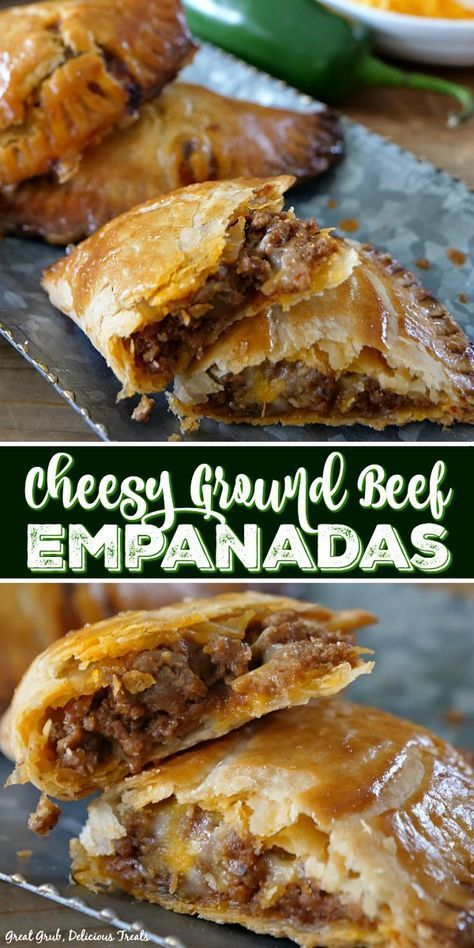 These Cheesy Ground Beef Empanadas are loaded with two types of cheese, deliciously seasoned meat, then baked to perfection. These Cheesy Ground Beef Empanadas are loaded with two types of cheese, deliciously seasoned meat, then baked to perfection. Comida Latina, Buffalo Chicken, Cheesy Chicken, Baked Chicken Tacos, Nachos, Clean Eating Snacks, Appetizer Recipes, Meat Appetizers, Appetizer Dessert