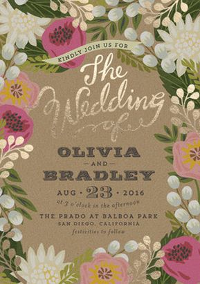 Botanical inspired invitation by Minted