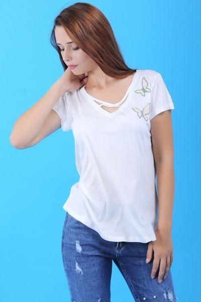 Bayan Tisort Kelebek Desen Beyaz T Shirt Etnik Kombin Tarzi Spor Toptan Aksesuar Otantik Bayangiyim Deri Firsat Kiz Hamile Kis Moda Giyim Elbise