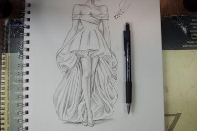 تعليم الرسم بالرصاص طريقة تصميم فستان مع الخطوات Fashion Drawing Tutorial Fashion Sketches Dresses Fashion Illustration Tutorial