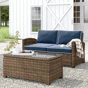 Farmhouse Rustic Outdoor Birch Lane Seating Groups Rattan Sofa Outdoor Furniture