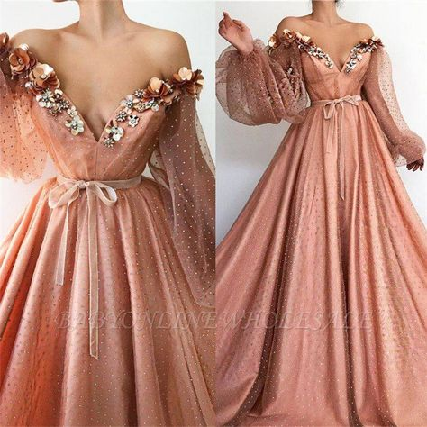 Stunning Long Sleeve Sexy Off the Shoulder Tulle Beading Prom Dresses V Neck Party Dresses Neon Prom Dresses, Pretty Prom Dresses, Prom Dresses Long With Sleeves, Ball Dresses, Elegant Dresses, Cute Dresses, Beautiful Dresses, Ball Gowns, Evening Dresses