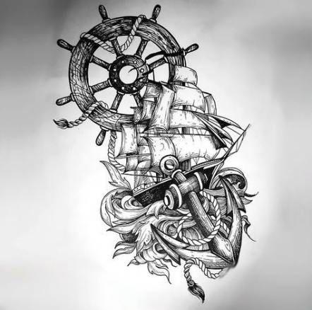 Trendy Tattoo Compass Design Ship Wheel Ideas Sketch Style Tattoos Sketch Tattoo Design Nautical Tattoo