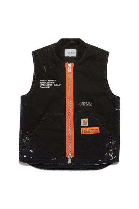 heron preston public figure fall winter 2018 collaboration carhartt wip  black tan zipper vest painted 8cbf865a7e9
