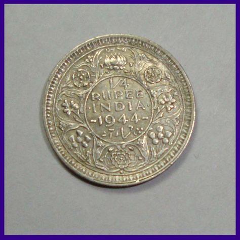 1942 C Uncirculated Silver British India 1//4 Rupee