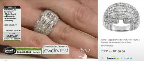 Brand new--14K White Gold Dome Ring! PMD105 Pamela Mccoy Diamonds(Tm) 1.50ctw Round & Baguette 14k White Gold Dome Ring ERV: $2,507.00 JTV Price: $1199.99