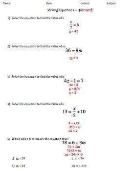 Solving Writing Equations Quiz Writing Equations Equations