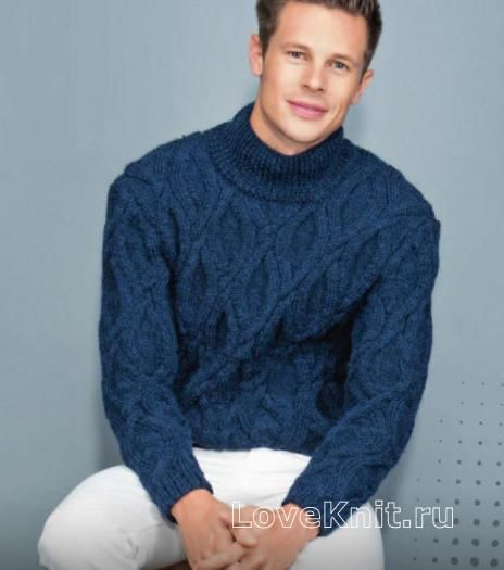 b39781b6f2f15 Для мужчин мужской свитер крупной вязки с фантазийным узором фото к описанию