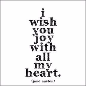 """""""I wish you joy with all my heart."""" - Jane Austen Extra postage required. Measures 5"""" x 5"""". All quotable cards and envelopes are printed on 100% post consumer recycled paper."""