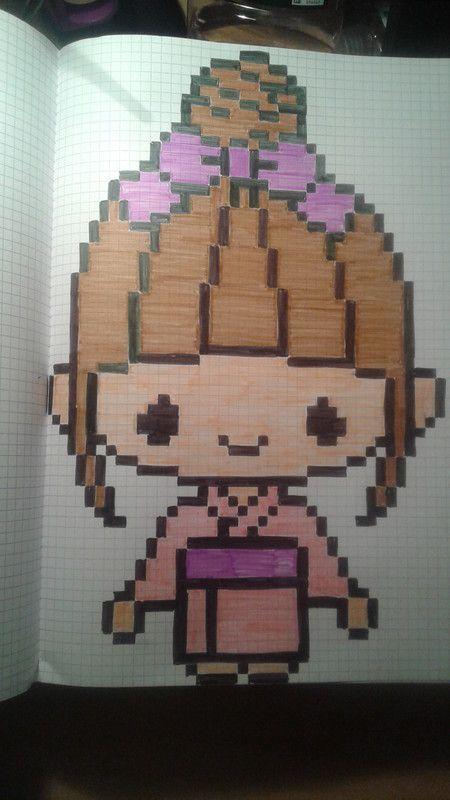 Fille En Kimono Dessin Carreau Coloriage Pixel Et Dessin