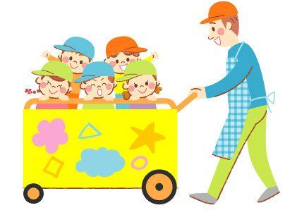 避難車に園児を乗せた保育士の可愛いイラスト イラストマップ 可愛いイラスト イラスト