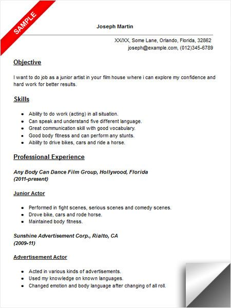 Actor Resume Sample Resume Examples Pinterest Resume examples - Examples Objective For Resume