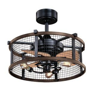 Wade Logan 39 37 Parryville 3 Blade Led Caged Ceiling Fan With Wall Control And Light Kit Included Wayfair In 2020 Ceiling Fan With Remote Industrial Ceiling Fan Caged Ceiling Fan