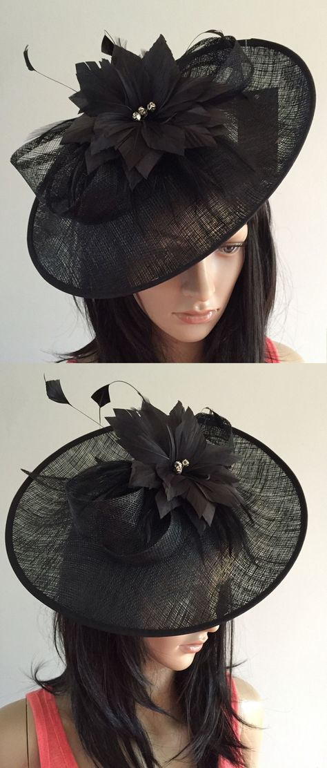 1f79ef6b Black large Saucer Fascinator by Nigel Rayment, Hatinator Hat for the Races  or mother of