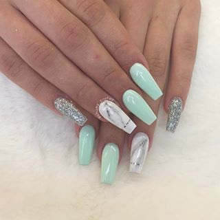 Pinterest Tucorazon Mint Green Nails White Acrylic Nails Summer Acrylic Nails