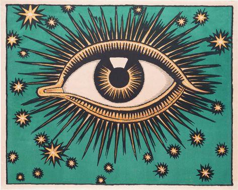 All Seeing Eye art print, Stars wall art, Celestial decor, Eye of Providence, Mystical art, Magical