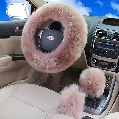 Usa 1 Set Plush Fuzzy Steering Wheel Cover Pale Mauve Car Wool Handbrake Cover Fuzzy Steering Wheel Cover Girly Car Car Wheels