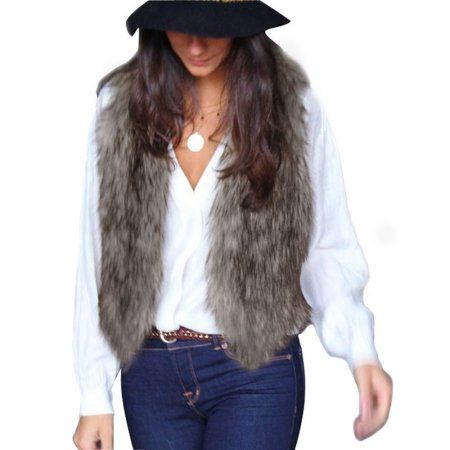 HOSOME Women Faux Fur Coat Ladies Sleeveless Vest Waistcoat Jacket Gilet Shrug Outwear Tops