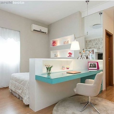 Une disposition originale pour intégrer un bureau dans la chambre de vos ados