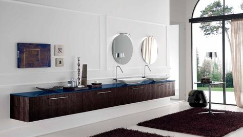 Mobile lavabo sospeso con finitura pelle, top in vetro e lavabi da ...