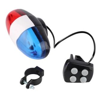 4 Sounds 6 LED Electric Horn Bell Police Car Siren Light For Bike Cycling RGW