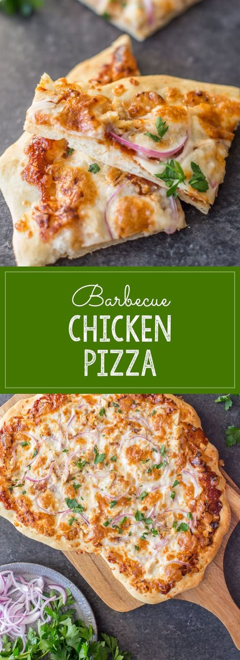 Homemade pizza dough topped with barbecue sauce, grilled chicken, mozzarella cheese and red onions. A family favorite! #barbecuechickenpizza #barbecuechicken #pizza #pizzadough #dinner